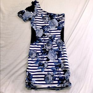floral stripe mini dress